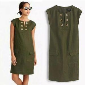 J. Crew Linen Grommet Tunic Shift Pockets Dress